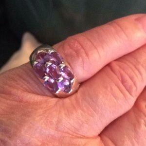 STERLING 925 Ring w/7 Amethyts
